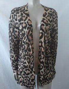 LOFT leopard animal print open cardigan